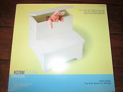 "Kids Childs 12 1/2""X13 1/4"" White Wood-en STEP STOOL opens for Storage NEW"