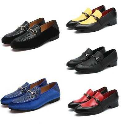 Mens Retro Slip On Leather Shoes Casual Driving Loafers Pointed Toe Fashion Walk