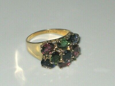 6.70 Carat Chrome Diopside, Iolite, Garnet Ring 10K Gold 4.4 Grams Size 8