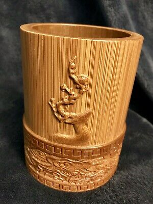 """Vintage Chinese Scholars Organic Bamboo Low Relief Brush Pot 5.5"""""""