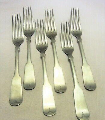 6 Reed & Barton Dinner Forks c.1880 Tipped Pattern Marked Electric Silver Metal