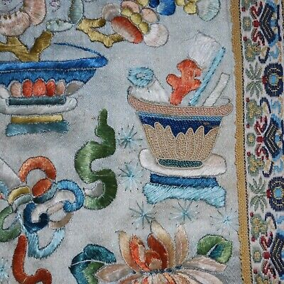 Chinese Antique Forbidden Stitch Embroidery Silk Panel Estate 19C to Early 20C