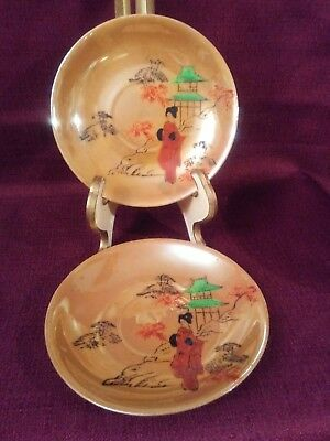2 Beautiful Chinese Gold Colored Saucer Plates