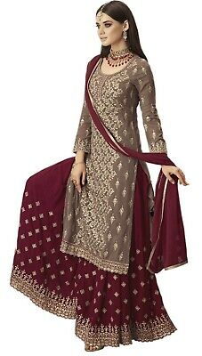 Heavily Embroidered Georgette semi-stitched Sharara
