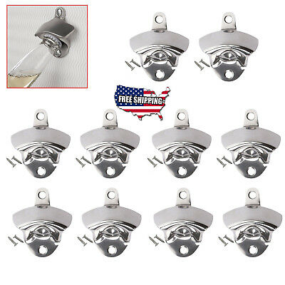 100 pcs NEW Stainless Steel silver Wall Mount Beer soda Bottle Opener