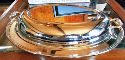 Chrome Plated Food Server Two-Piece Metal Ware With Handles