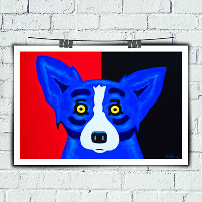 HD Print Blue Dog Red and Black Cartoon Art Painting on Canvas Home Decor 14x26
