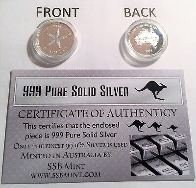 """2014 """"STARFISH"""" 1/10th OZ 999.0 Pure Solid Silver Coin with C.O.A. (Invest)"""