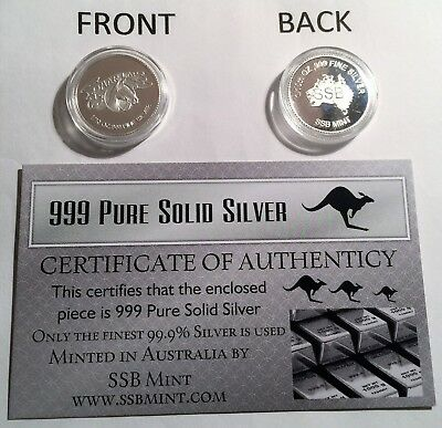 """""""PHAR LAP"""" 1/10th OZ 999.0 Pure Solid Silver Coin, with C.O.A. Horse Racing"""