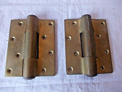 4'' antique vintage solid heavy duty brass hinges for door cabinet 2pcs Pair old
