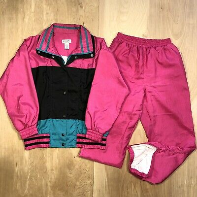 RARE Lavon 80s 90s Track Suit Jacket Pants Set Small Pink Womens Small Medium