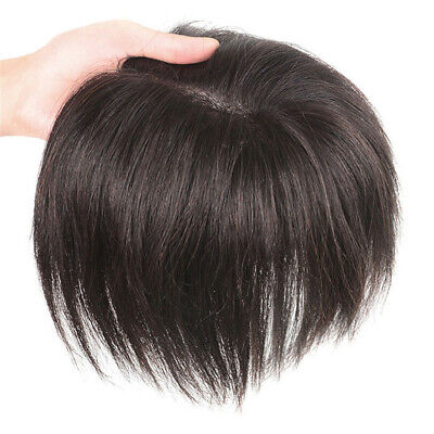 Women Straight Human Hair Toppers 18cm Hand Made Clip in Crown Hairpiece Toupee