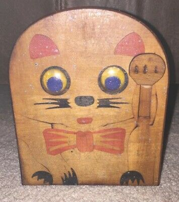 Vintage Wooden Feed The Kitty Cat Coin Bank