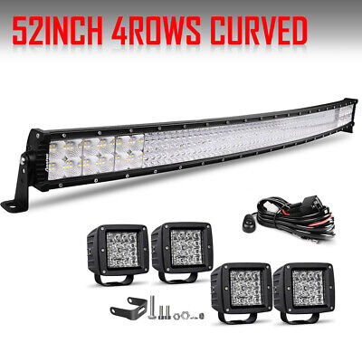 "52"" 54"" Curved LED Work Light Bar +4"" Dual Color Light Pods For Offroad Ford SUV"