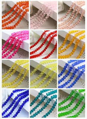 Wholesale 200pcs 4mm Crystal Glass Rondelle Faceted Loose Spacer Beads DIY