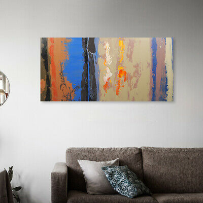 Hand Painted Abstract Canvas Oil Painting Modern Home Decor Framed Pink Clouds