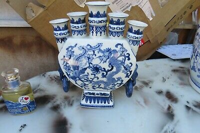 Vintage  Chinese tulpin  Blue & White Porcelain Vase dragon  hand painted