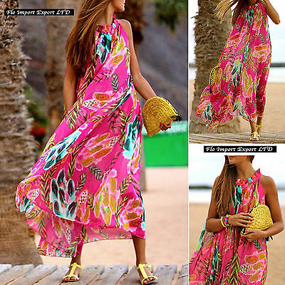 Vestito Lungo Copricostume Donna Woman Multicolor Cover Up Maxi Dress 2019 IT
