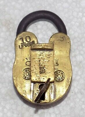 India Original Antique padlock Brass Levers 6 handmade with Key.#Lock-10