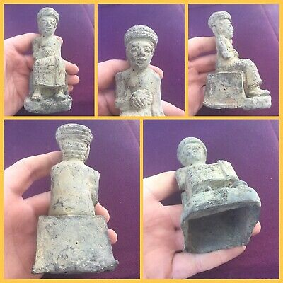 Very rare ancient luristian bronze sitting figure offering  ! C 1200 bc