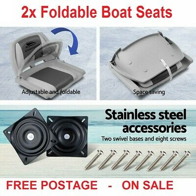 Seamanship Set of 2 Folding Swivel Boat Seats Marine Grade UV Resistant