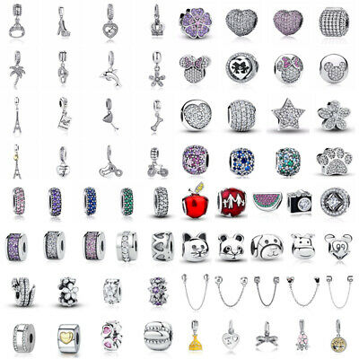 European Women 925 Sterling Silver CZ Charm Beads Pendant Fit Bracelet Necklace