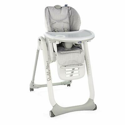 Chicco Polly 2 Start Highchair - 4 Wheels (Happy Silver)