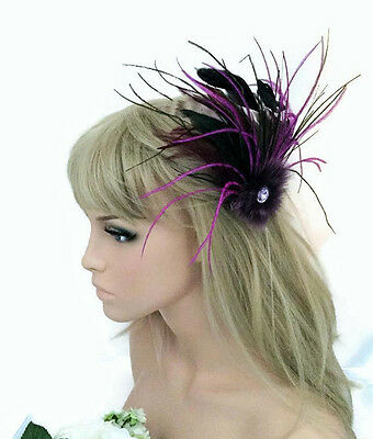 Purple Jewelled Feather Hair clip Grip Fascinator with Real Fur
