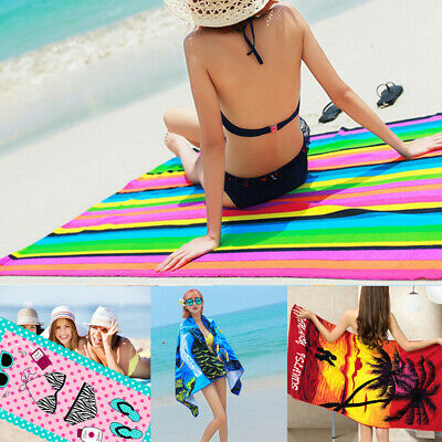 Large Microfibre Beach Bath Towel Lightweight Sports Travel Gym Summer Towels