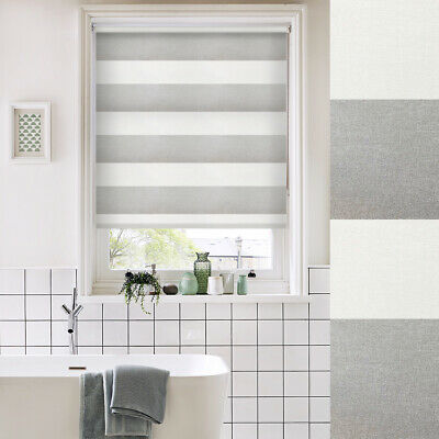 Grey Stripe Daylight Roller Blind - Made To Measure - ANY SIZE JUST £35!