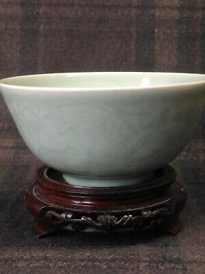 Antique Chinese Celadon rice bowl with Carp Fish and Lotus Flowers 19th Centrury
