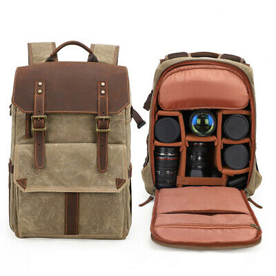 Outdoor Waterproof Photography DSLR Camera Backpack Wax Dye Canvas Video Bag