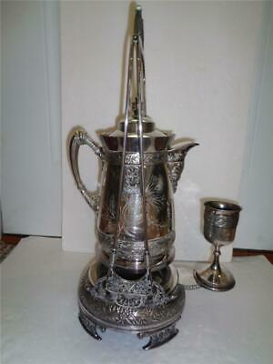 Ant Simpson Hall Miller & Co Quadruple Silver Plate Tilting Water Pitcher Stand