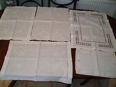 5 Assorted Vintage White Tray / Table  Cloths