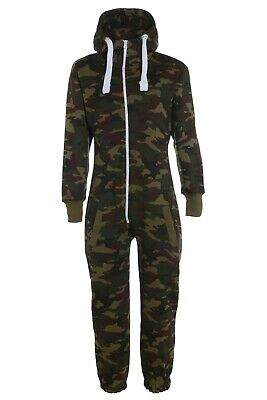 Kids Boys Army Camouflage Print 1Onesie Hooded Jumpsuit All in One Size 5-16 yrs