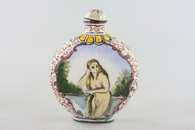 Vintage Chinese Enamel Hand Painted Nude Snuff Bottle Signed