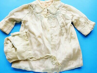 ANTIQUE HANDMADE Victorian  BABY Child FRENCH DOLL Clothing BLUE SILK COAT & HAT