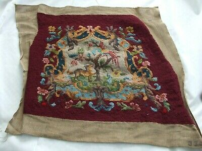 Vintage Jacobean Styled Chippendale Design Needlepoint Featuring Dog And Bird