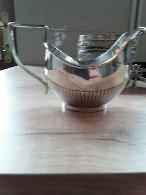 Antique solid silver cream jug and other items