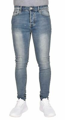 Mens Super Skinny Jeans Spray On Tight Fit Faded Stright Denim Pants All Sizes