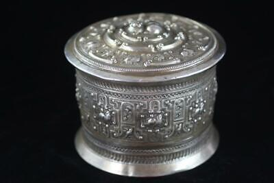 ANTIQUE BURMESE 19th Century 800 SILVER HAND MADE REPOUSSE LIDDED BOWL