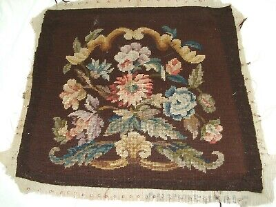 Vintage Jacobean Styled Needlepoint Panel In Floral Design #1
