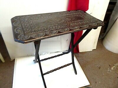 Antique Hand Carved Top solid Wood Folding Side Table
