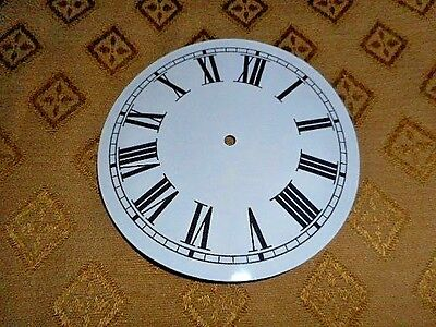 "Round Paper (Card) Clock Dial- 4 3/4"" M/T - Roman - GLOSS WHITE - Parts/Spares"