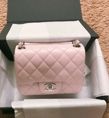 RARE Authentic CHANEL 18S Classic Mini Square Flap Bag Lambskin Light Pink bag