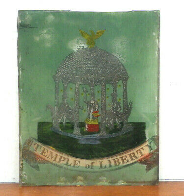 Antique Ogee Clock Glass TEMPLE OF LIBERTY