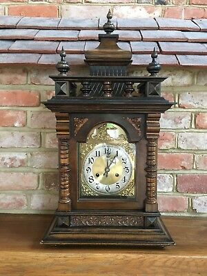 Ornate Edwardian Walnut Bracket clock, German