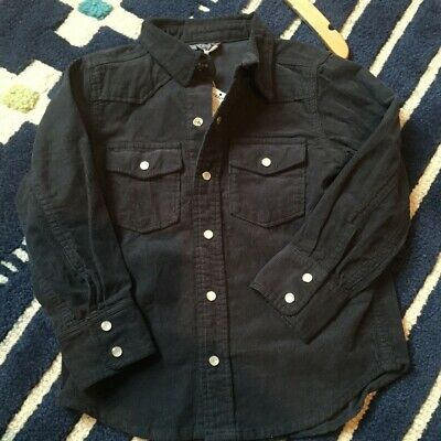 Bit'zKidsNYC Toddler Boy Navy Blue Corduroy L/S Shirt 4-5T NWT org $45 Awesome!