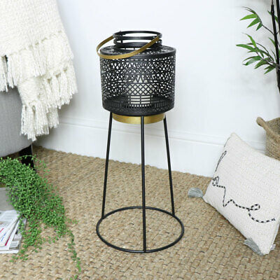 Black metal candle lantern tripod stand exotic contemporary modern home decor