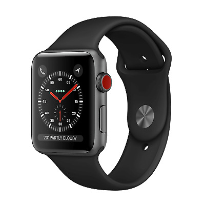 Apple Watch Series 3 42mm Black Stainless Steel Cellular - Black Band - Great